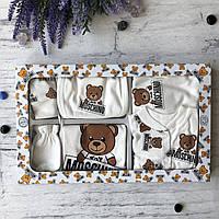 Крестильный костюм,  набор на выписку в стиле Moschino Размер 0-3 мес, фото 1