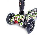 Самокат детский Maxi складной руль колеса светяться. Military., фото 2