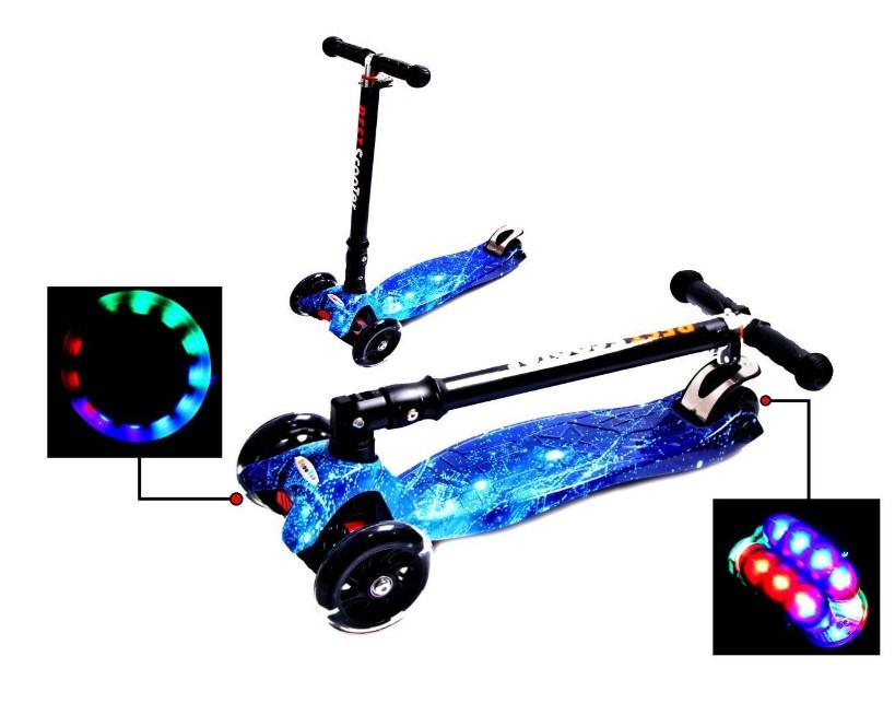 Самокат детский Maxi складной руль колеса светяться. Space.