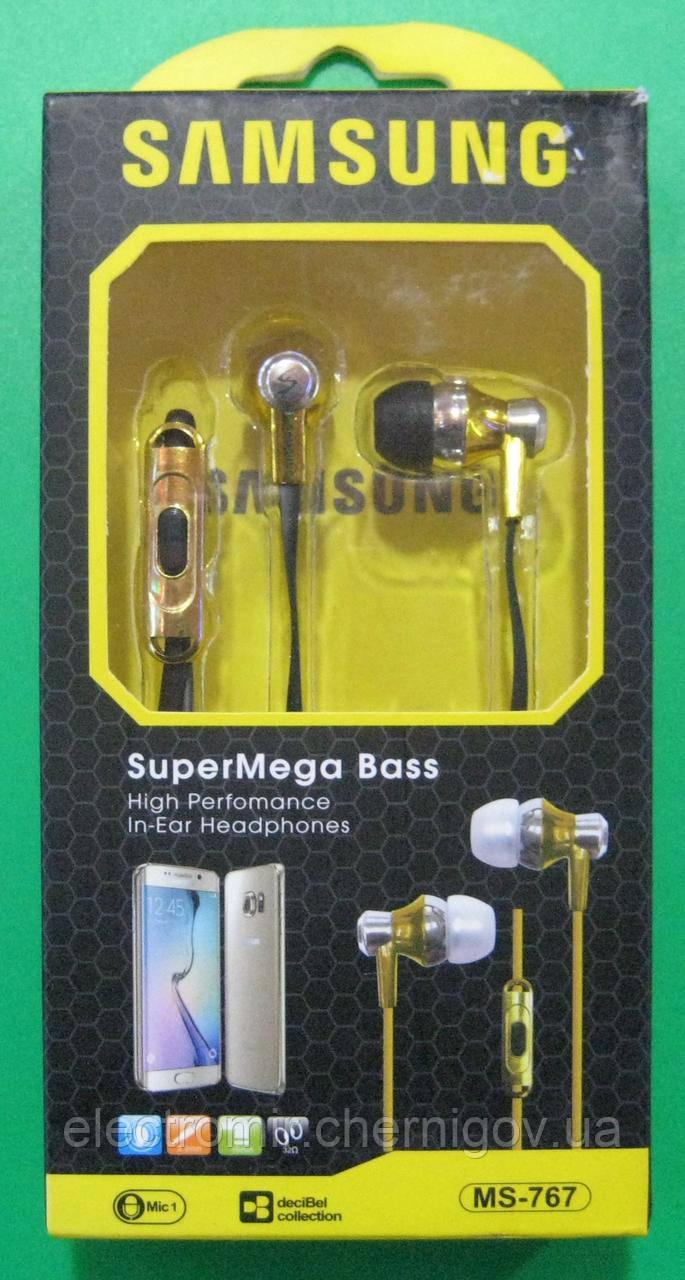 Навушники вакуумні з мікрофоном Samsung MS-767 (золотисті)