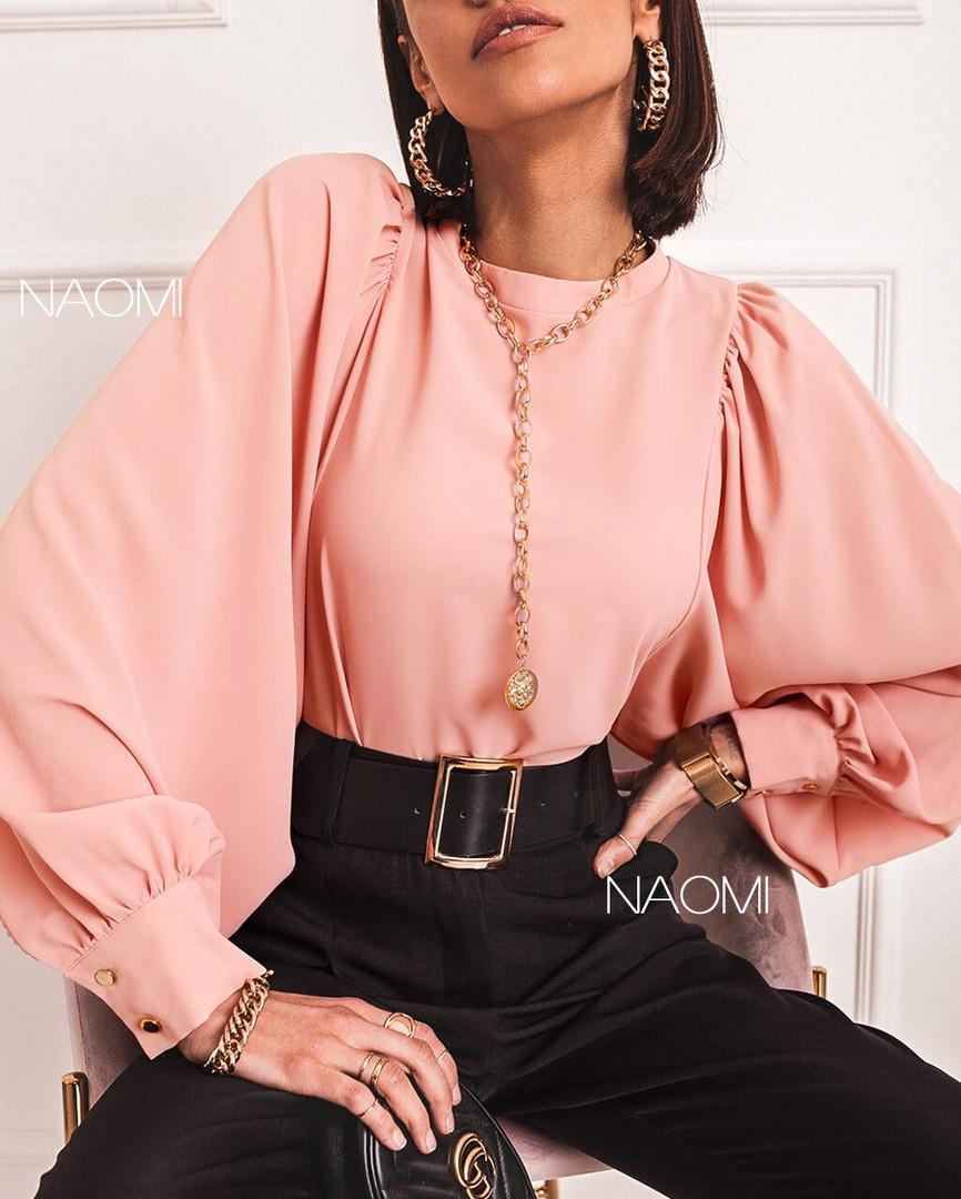 Блузка женская классическая, легкая, офисная, длинный пышный рукав, стильная, нарядная, модная