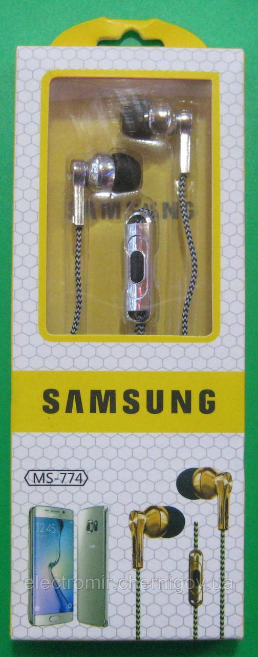 Наушники вакуумные с микрофоном Samsung MS-774 (серебристые)