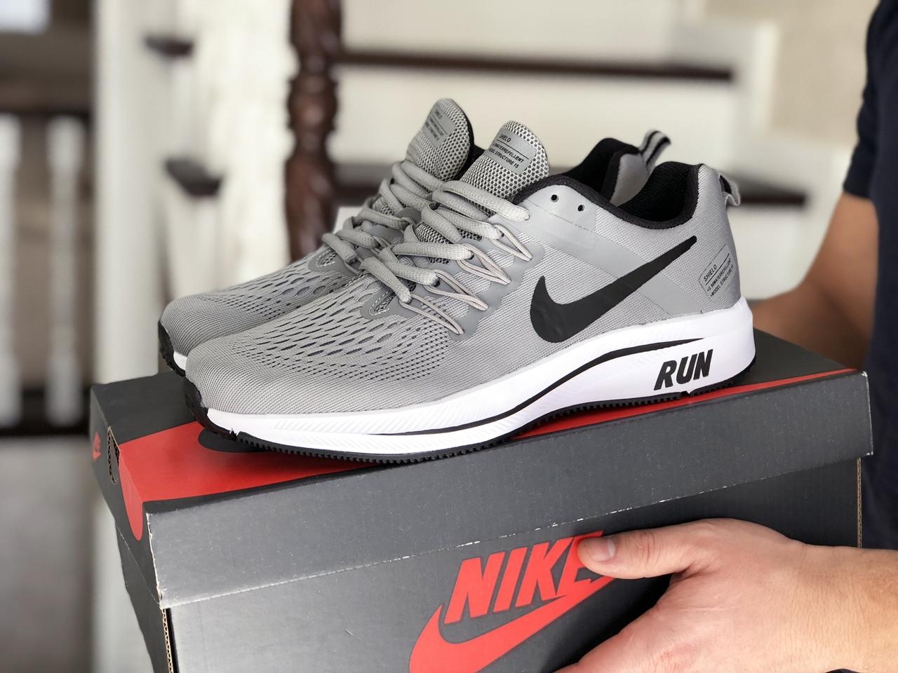 Чоловічі кросівки Nike Run shield (світло-сірі з білим) 9072