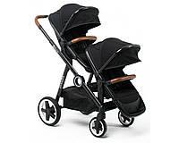 Детская прогулочная коляска Babyzz Dynasty для двойни с 2-мя прогулочными блоками (черная)