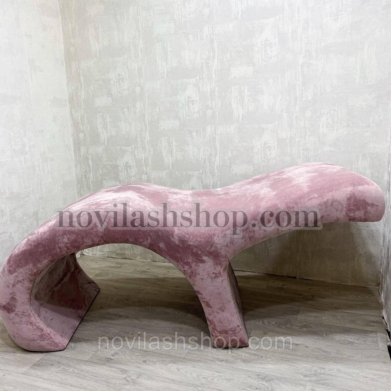 Анатомическая кушетка Simply с полкой для лампы, для наращивания ресниц (велюр розовая пудра)