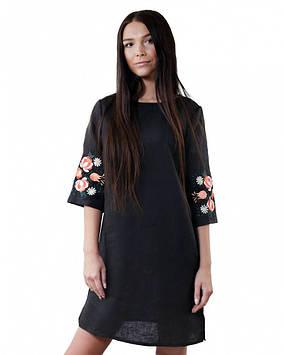 Чорне жіноче вишите плаття (розміри XS-3XL)