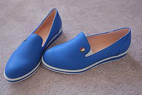 Женские мокасины ярко синие для дрескода 36-41