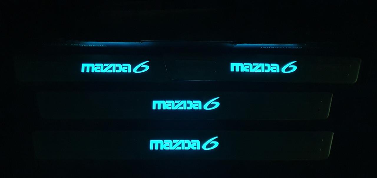 Накладки на пороги mazda 6 с подсветкой 2003-