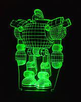 3d-светильник Робот, 3д-ночник, несколько подсветок (батарейка+220В)