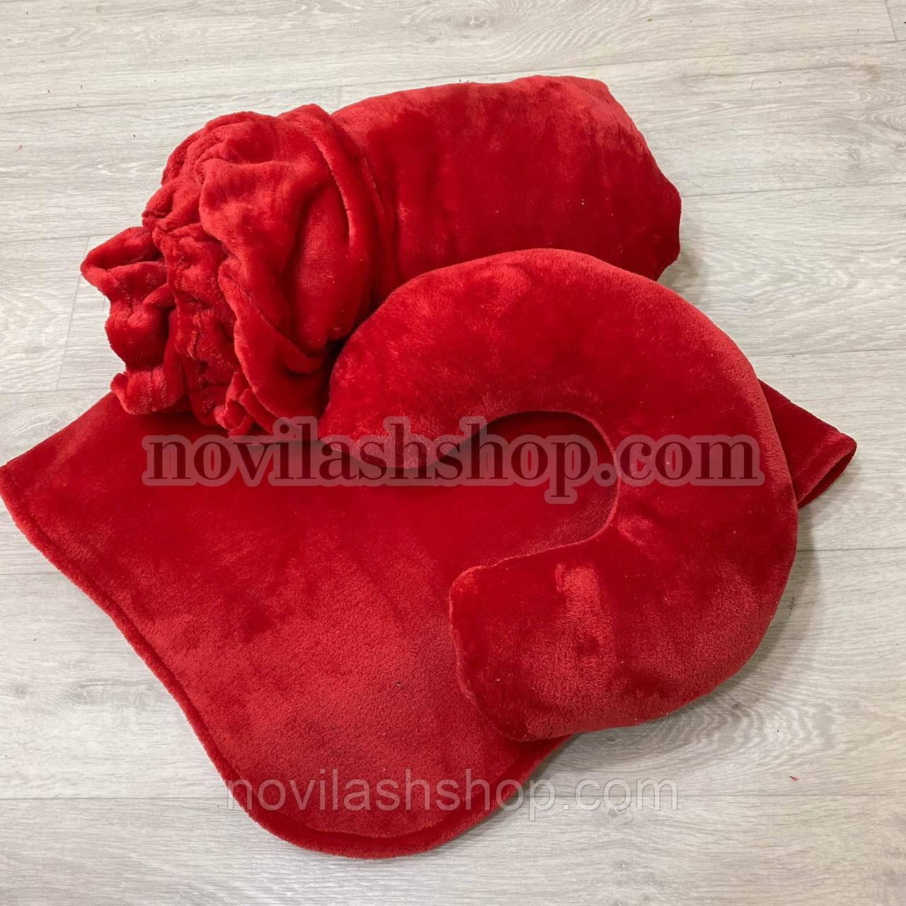 Набор 3в1: подушка, плед, чехол (махра)Цвет: алый красный