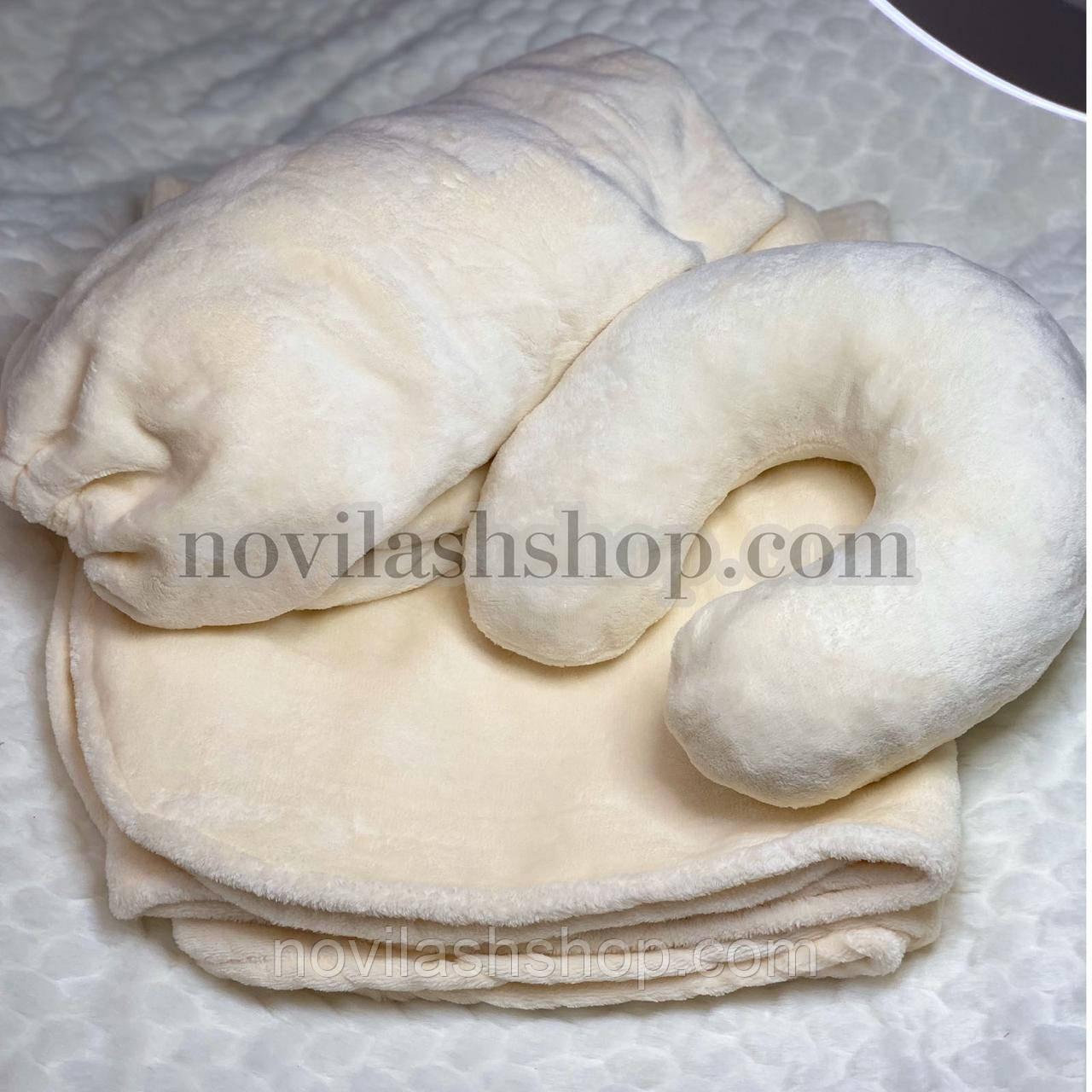 Набор 3в1: подушка, плед, чехол (махра)Цвет: молочный
