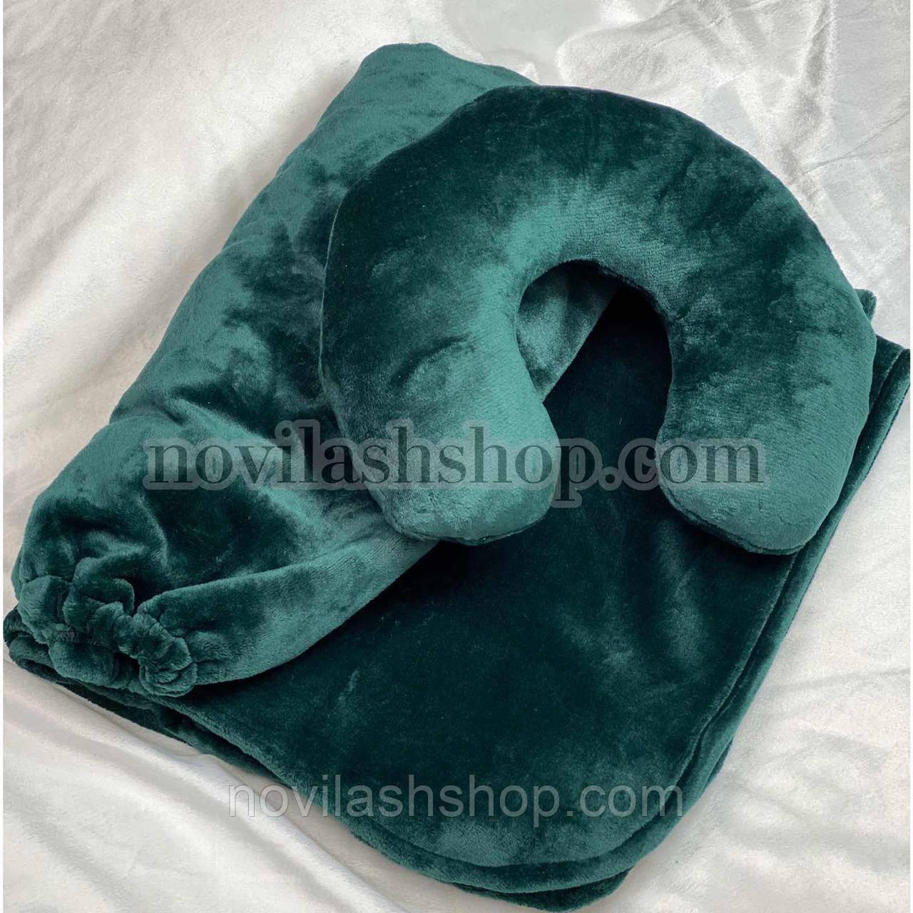 Набір 3в1: подушка, покривало, чохол на кушетку (махра)Колір: смарагдовий