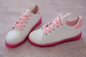 Женские белые кроссовки на розовой подошве перфорированные 36-41