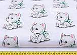 """Лоскут ткани """"Котики с зелёными бантиками """" на белом  фоне (№ 1140а), размер 33*78 см, фото 2"""