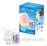 Светодиодная лампа GU10 LED 5W RGBWW 220V +пульт, фото 4