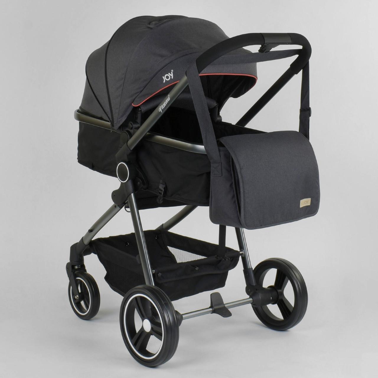 Коляска детская универсальная 2 в 1 JOY Naomi 78141 Темно-серый, сумка, футкавер