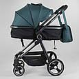 Дитяча універсальна коляска 2 в 1 JOY Naomi 80793 Темно-бірюзовий, сумка, футкавер, фото 2