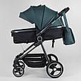 Дитяча універсальна коляска 2 в 1 JOY Naomi 80793 Темно-бірюзовий, сумка, футкавер, фото 3