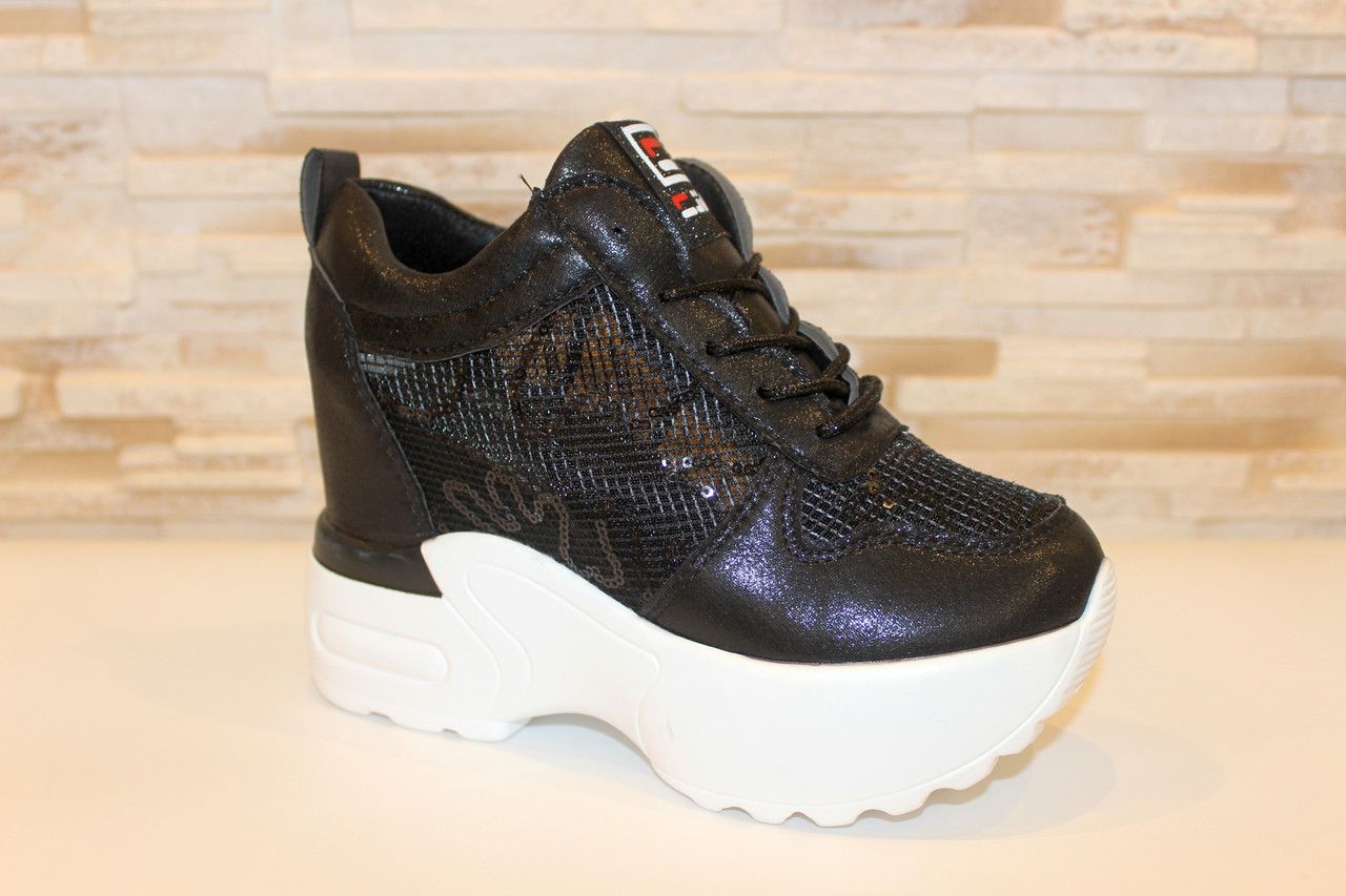Сникерсы кроссовки женские черные Т050