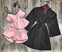 Модный набор халат+пижама (майка и шорты) 047-021.