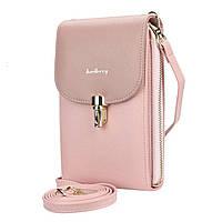 Женский кошелек-сумка Baellerry N8593 Light Pink вертикальная на плечо тренд сезона для девушек женщин