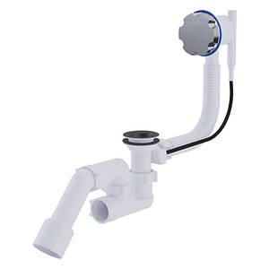 """Сифон ANI Plast EM321 для ванны полуавтомат с ревизией, с выпуском и переливом 1 1/2"""" выход 50 мм"""