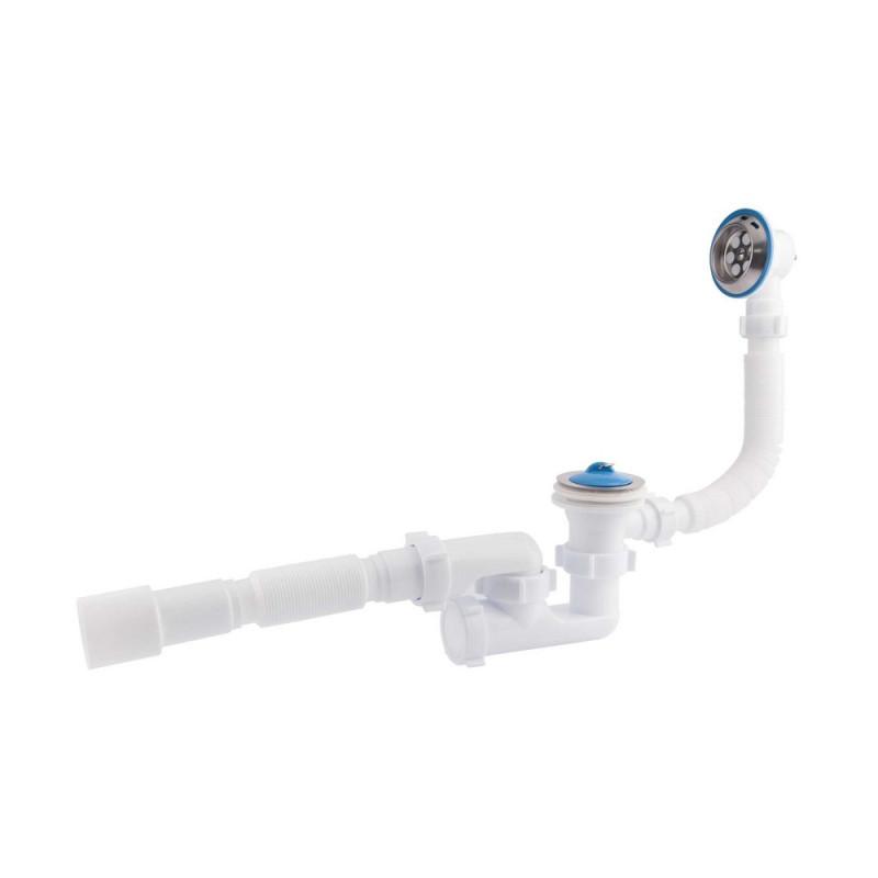 """Сифон ANI Plast E255-E256 для ванны регулируемый с выпуском 1 1/2""""х40, с переливом, с гибкой трубой 40/50"""