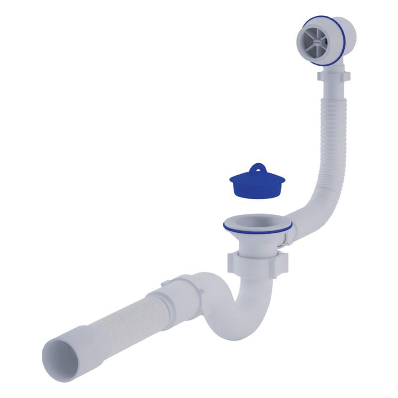 """Сифон ANI Plast C6155 для ванны прямоточный, с выпуском и пластиковым переливом 1 1/2"""" выход 50 мм"""