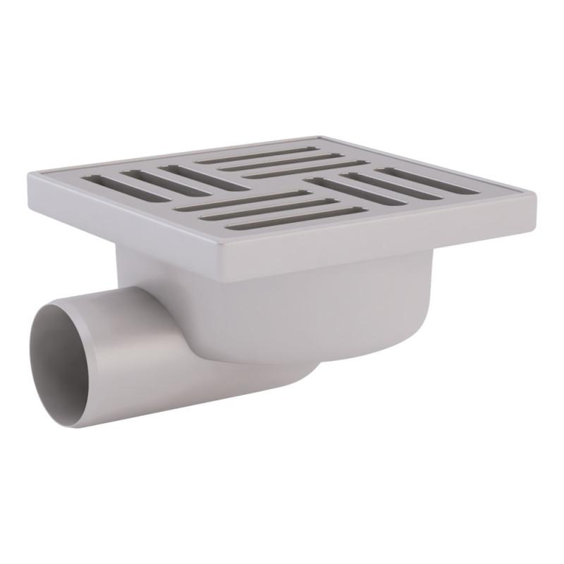 Трап ANI Plast TA5112 горизонтальный, выпуск 50 мм с нержавеющей решеткой 15x15 см
