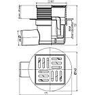 Трап ANI Plast TA5604 горизонтальный, регулируемый, выпуск 50 мм с пластиковой решеткой 10x10 см, фото 2