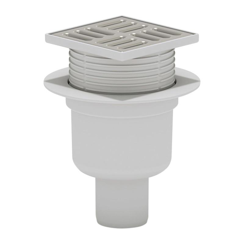 Трап ANI Plast TA5702 вертикальный, регулируемый, выпуск 50 мм с нержавеющей решеткой 10x10 см