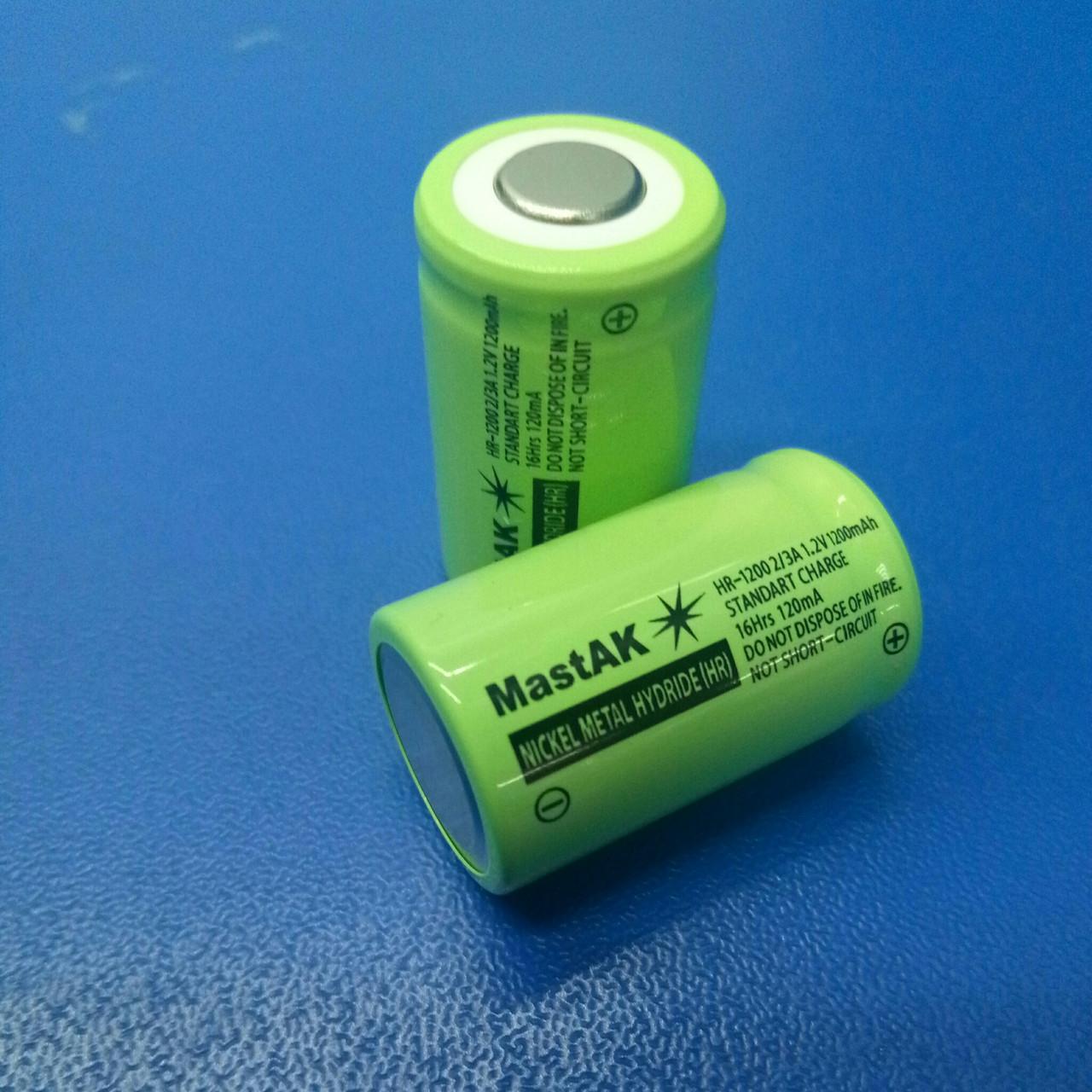 Аккумулятор технический MastAK HR-1200 2/3A ( 1,2V 1,2Ah MH )