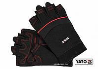 Рукавиці робочі чорні з відкритими пальцями YATO штучна шкіра + синтетична тканина розмір 10