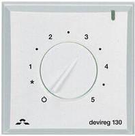 Терморегулятор DEVIreg 130, (+5+45С), механический, датчик на проводе 3м, 82 х 82мм, макс. 16A, белый