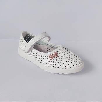 Перфорированные белые туфли девочкам, р. 31-36. Летние, весенние, нарядные.