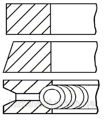 Кольца поршневые VAG 76.5 (1.2/1.5/2.5) AEE/AEA/AZQ/APQ/AHS GOETZE 08-103100-00