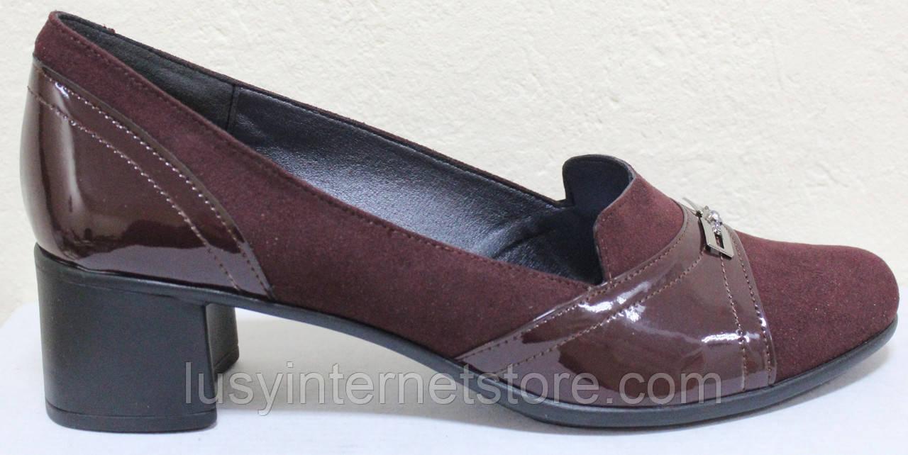 Туфли бордовые кожаные на полную ногу на каблуке от производителя модель БД36Б