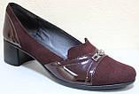 Туфли бордовые кожаные на полную ногу на каблуке от производителя модель БД36Б, фото 2