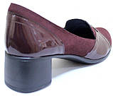 Туфли бордовые кожаные на полную ногу на каблуке от производителя модель БД36Б, фото 4