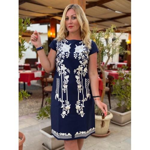 фотография летнее женское платье синего цвета