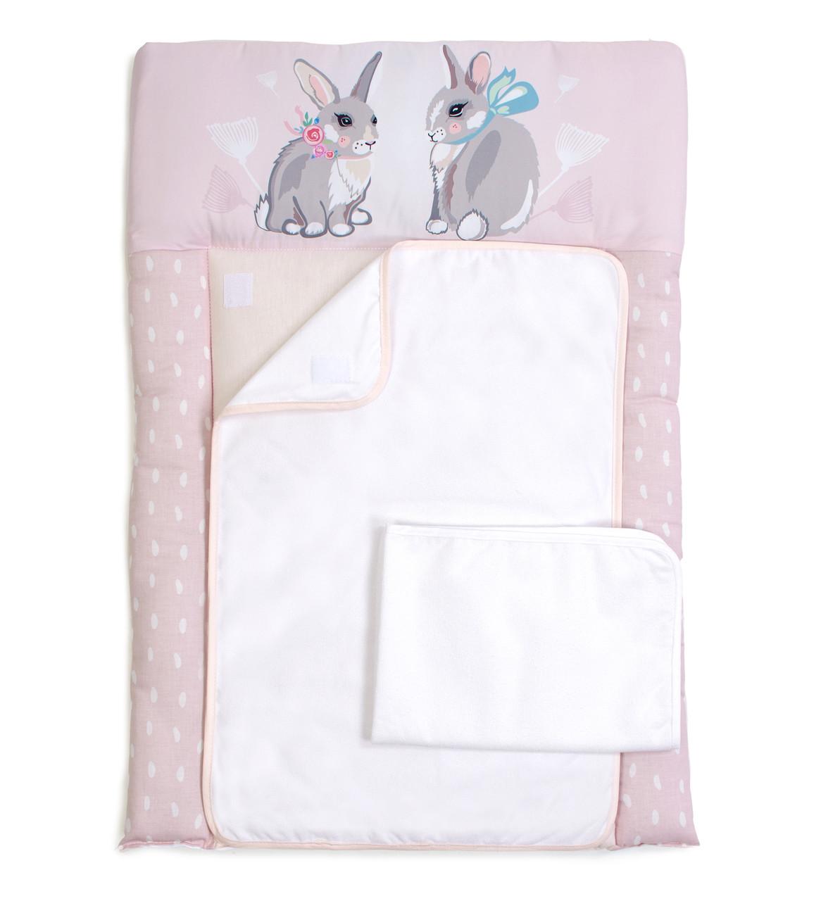 Пеленальный матрас для новорожденных тканевый  Veres Summer Bunny pink