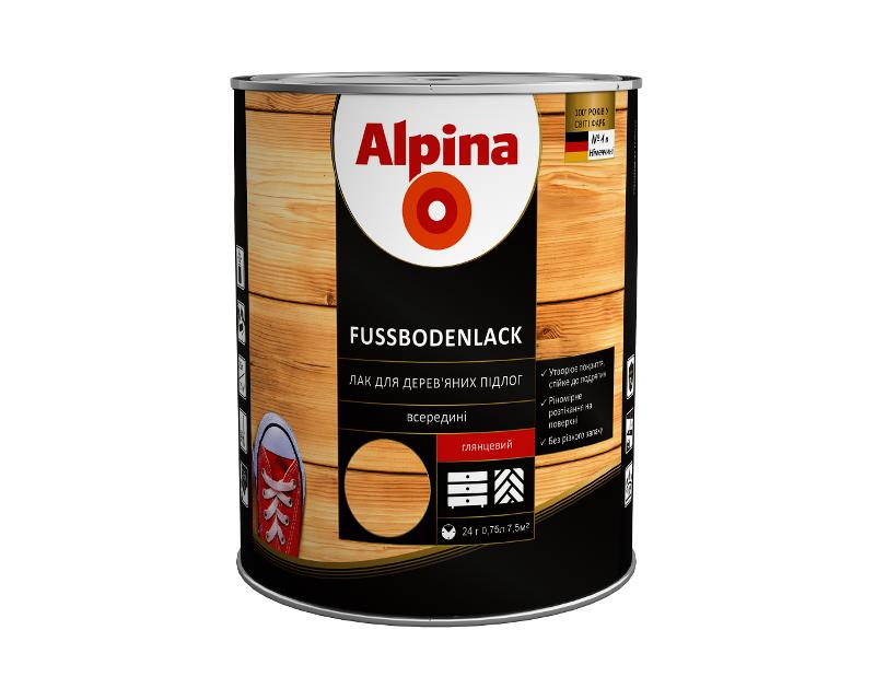 Лак алкід-уретановий ALPINA FUSSBODENLACK БІЛОРУСЬ паркетний глянцевий 0,75 л