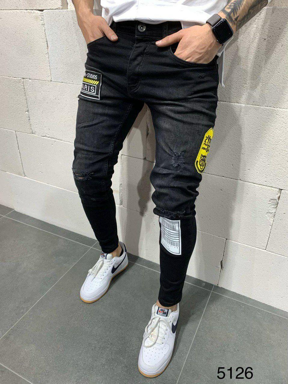 Мужские джинсы зауженные 2Y Premium 5126 black