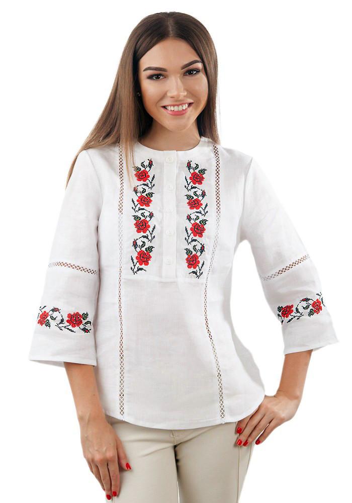 Біла лляна вишиванка жіноча (розміри S-3XL)