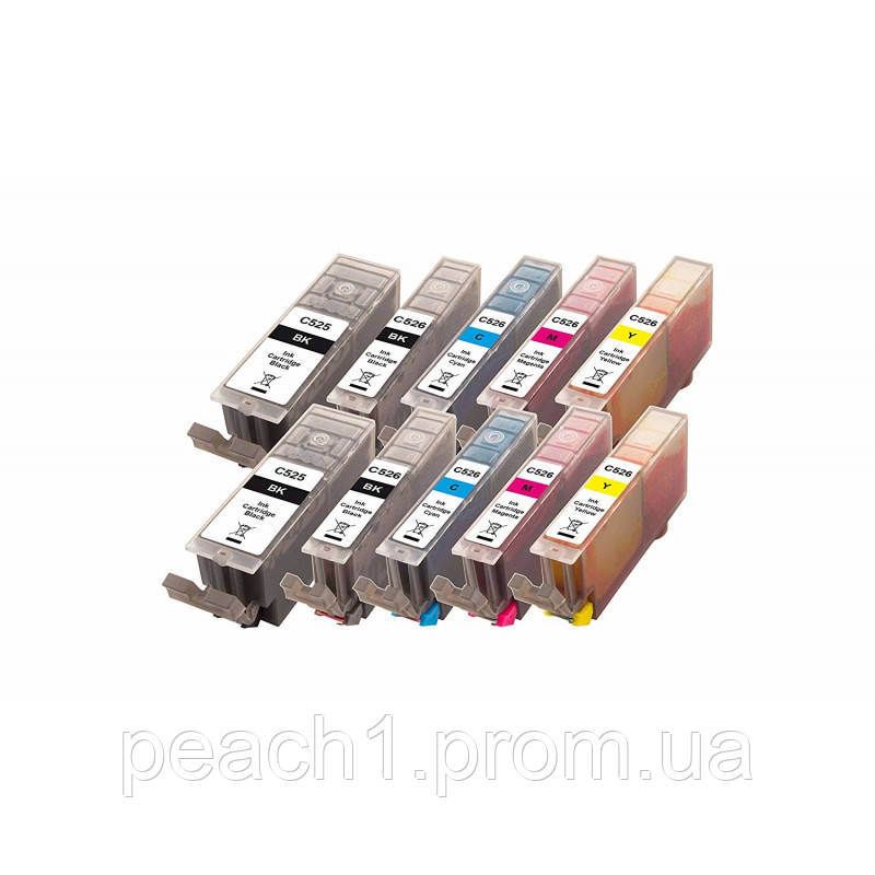 2x each bk, pbk, c, m, y Canon PGI 525/CLI 526 Multi 10 Pack c новим чіпом