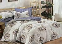 Сатиновое постельное белье двуспальное евро 200*220 (13955) хлопок 100% KRISPOL Украина