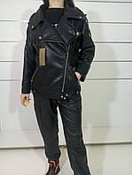 Женская кожаная куртка оверсайз черная