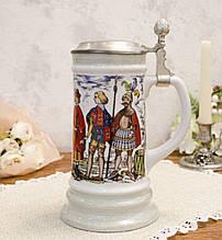 Немецкий пивной бокал, кружка для пива с оловянной крышкой, керамика, Германия, 800 мл