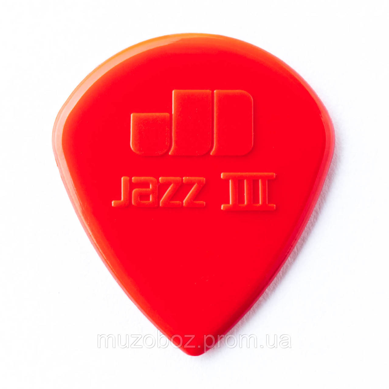Jim Dunlop Nylon Max Grip Jazz III 1.38 mm Picks Red, Pack of 6