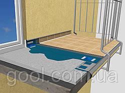 Карниз, капельник, отлив для открытого балкона и террасы под керамичекую плитку алюминиевый 2 м.п.